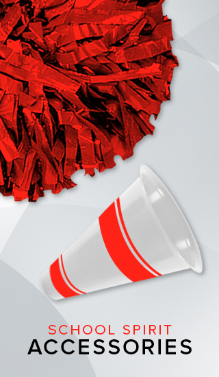 A picture of a pom pom and megaphone. Click to shop school spirit accessories.